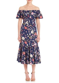 Rebecca Taylor Off-the-Shoulder Tapestry Garden Midi Dress