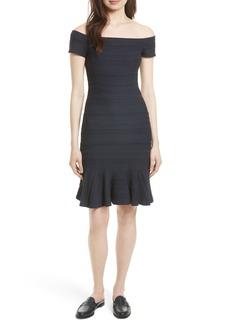 Rebecca Taylor Off the Shoulder Textured Knit Dress