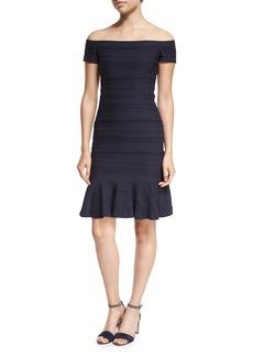 Rebecca Taylor Off-the-Shoulder Textured Mini Dress