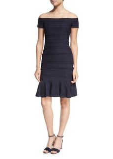 Rebecca Taylor Off-the-Shoulder Textured Mini Dress