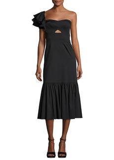 Rebecca Taylor One-Shoulder Cotton Ruffle Midi Dress