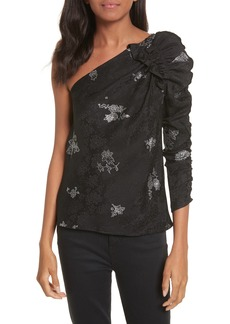 Rebecca Taylor One-Shoulder Glitter Silk Top