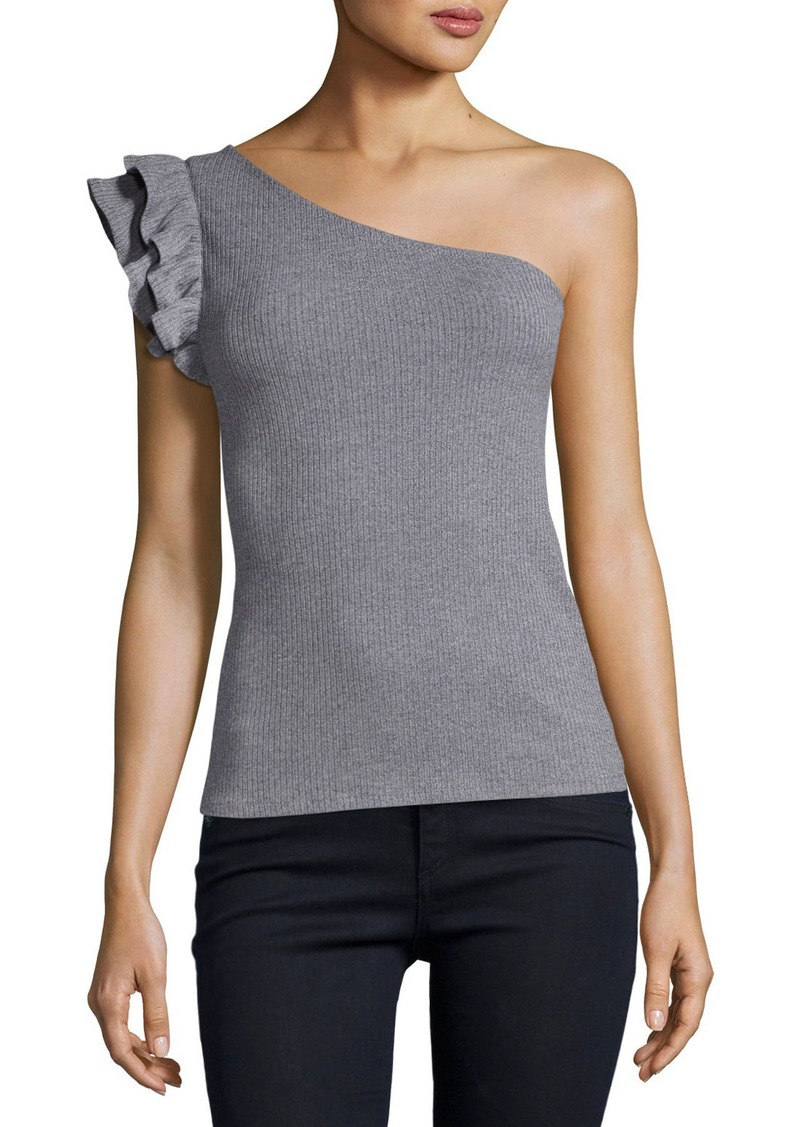 Rebecca Taylor One-Shoulder Ribbed Fitted Jersey Top  Gray
