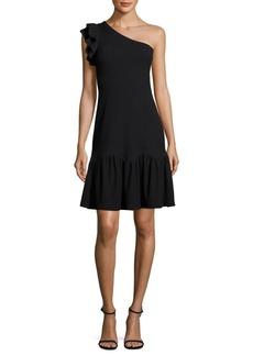 One-Shoulder Ribbed Jersey Dress