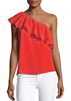 Rebecca Taylor One-Shoulder Ruffled Silk Top