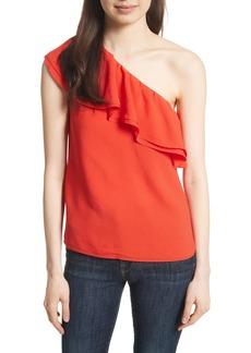 Rebecca Taylor One-Shoulder Silk Top
