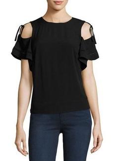 Rebecca Taylor Open-Shoulder Crepe Top