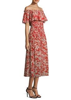 Rebecca Taylor OS Cherry Blossom Silk Off-The-Shoulder Dress