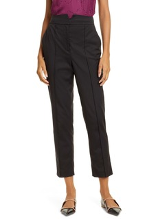 Rebecca Taylor Ottoman Notch Waist Ankle Trousers