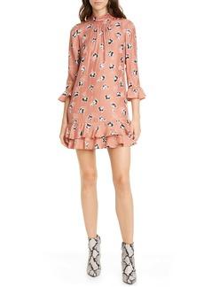 Rebecca Taylor Paintbrush Floral Ruffle Detail Silk Blend Shift Dress