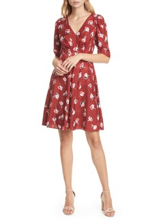 Rebecca Taylor Paintbrush Floral Silk Blend Dress