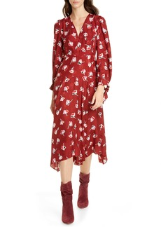 Rebecca Taylor Paintbrush Long Sleeve Silk Blend Dress