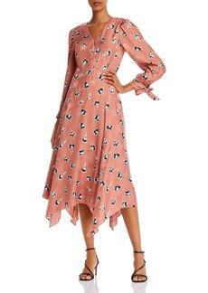 Rebecca Taylor Paintbrush Tie-Detail Floral Dress