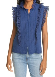 Rebecca Taylor Palm Embroidered Ruffle Top