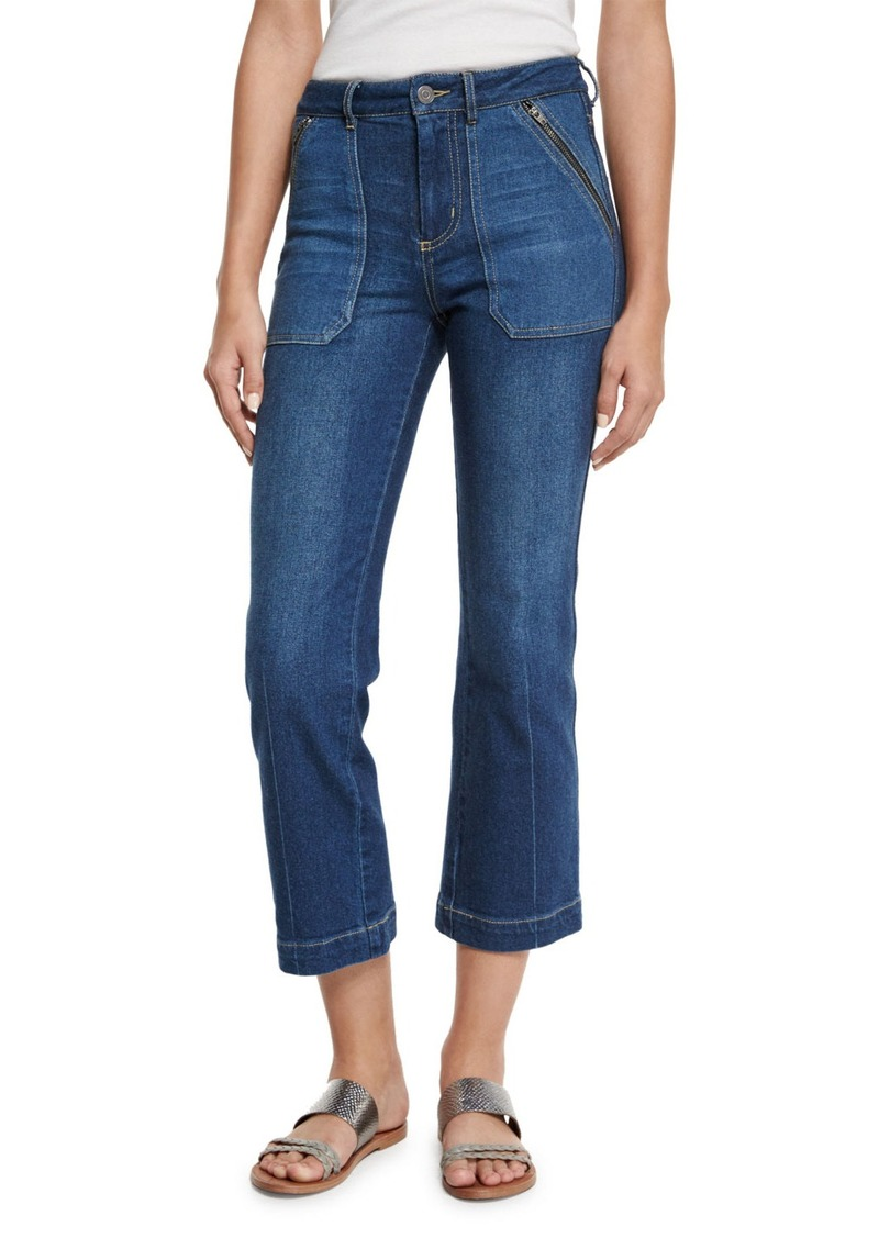 Rebecca Taylor Patchwork Flare-Leg Cropped Jeans