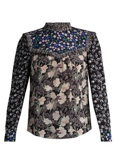 Rebecca Taylor Patchwork floral-print silk blouse