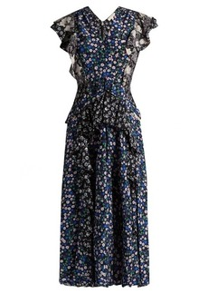 Rebecca Taylor Patchwork floral-print silk dress