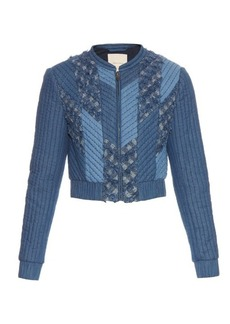 Rebecca Taylor Patchwork quilted-down bomber jacket