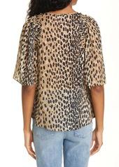 Rebecca Taylor Pebble Leopard Print Silk Blend Blouse