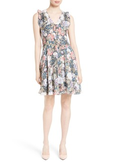 Rebecca Taylor Penelope Floral Fit & Flare Silk Dress