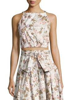 Rebecca Taylor Penelope Floral Sleeveless Crop Top