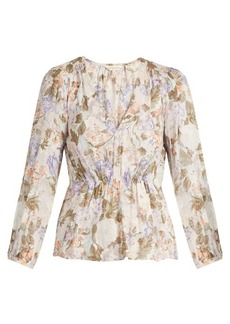 Rebecca Taylor Penelope rose-print silk and cotton-blend blouse