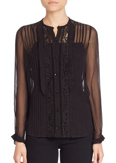 Rebecca Taylor Pintucked Lace Silk Blouse