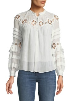 Rebecca Taylor Pinwheel Eyelet Long-Sleeve Top