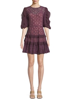 Rebecca Taylor Pinwheel Eyelet Ruffle Mini Dress