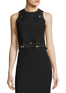 Rebecca Taylor Piqué Lace-Trim Crop Top