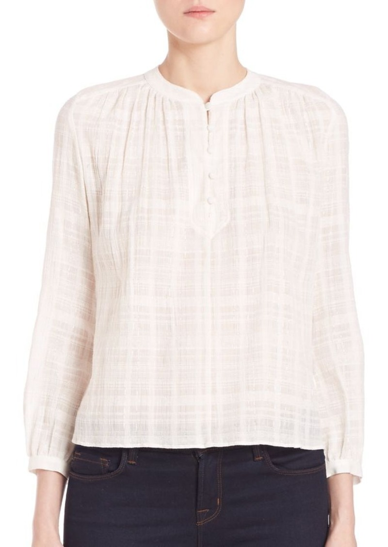 Rebecca Taylor Plaid Lurex Top