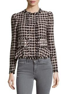 Rebecca Taylor Plaid Tweed Cotton Jacket