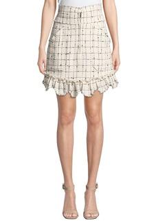 Rebecca Taylor Plaid Tweed Zip-Front Skirt