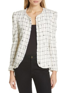 Rebecca Taylor Plaid Tweed Zip Jacket