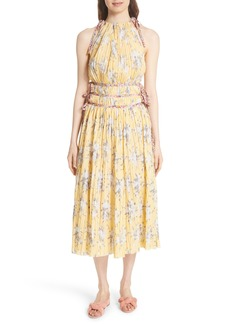 Rebecca Taylor Pleat Midi Dress