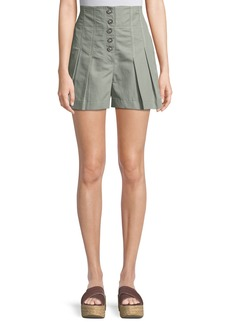 Rebecca Taylor Pleated High-Waist Button-Up Shorts