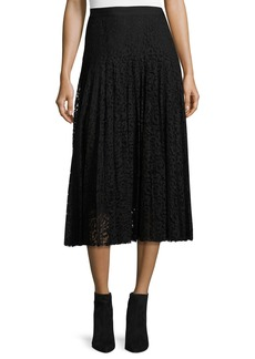 Rebecca Taylor Pleated Lace Midi Skirt
