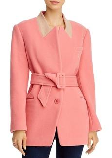 Rebecca Taylor Plush Wool-Blend Belted Coat