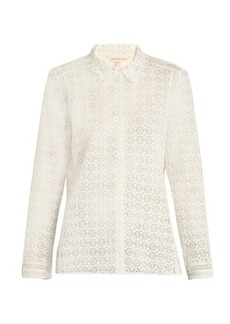 Rebecca Taylor Point-collar floral-lace blouse