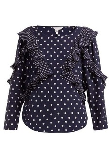 Rebecca Taylor Polka dot-print ruffled silk blouse