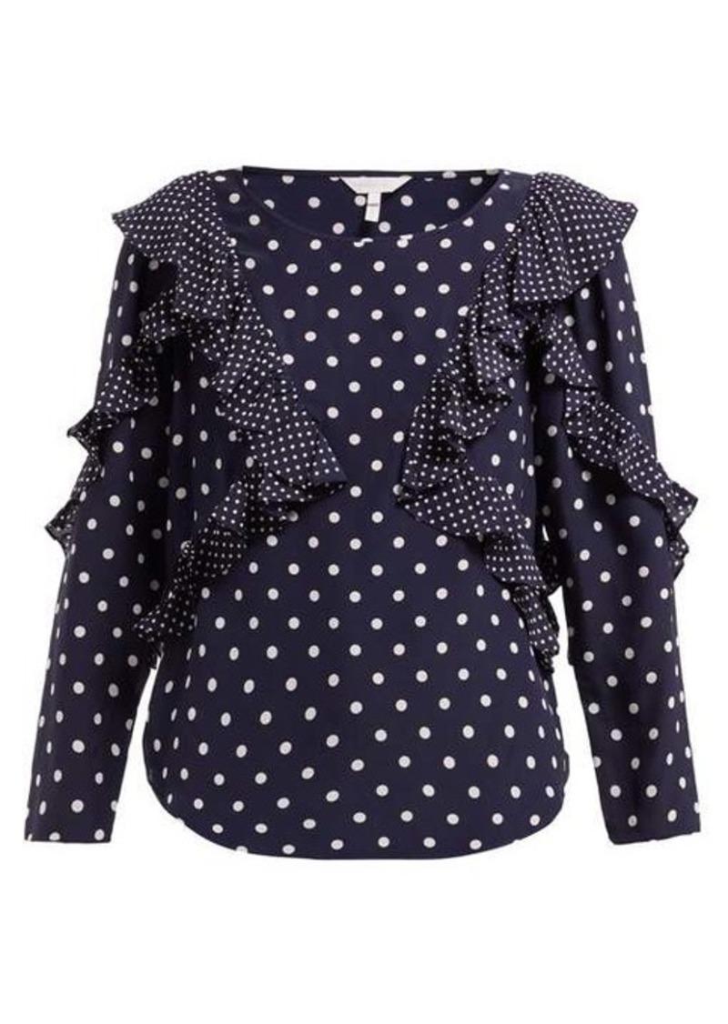 Rebecca Taylor Polka dot-print ruffled silk blouse