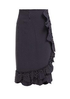 Rebecca Taylor Polka-dot ruffled pencil skirt