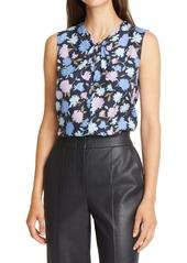 Rebecca Taylor Pom Floral Silk Blend Jacquard Top