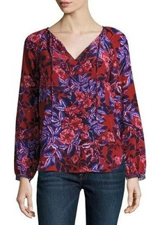 Rebecca Taylor Print Silk Long-Sleeve Tie-Neck Top