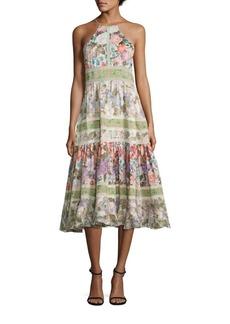 Rebecca Taylor Printed Cotton & Silk Halter Dress