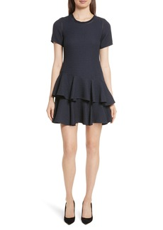 Rebecca Taylor Pucker Ruffle A-Line Dress