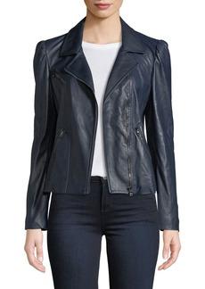 Rebecca Taylor Puff-Sleeve Leather Biker Jacket