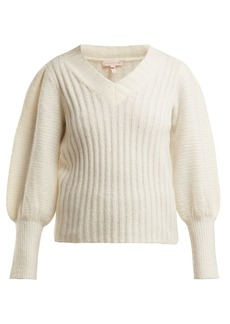 Rebecca Taylor Puffed-sleeve V-neck sweater