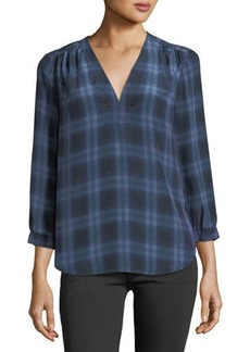 Rebecca Taylor Relaxed Plaid-Print V-Neck Top