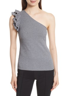 Rebecca Taylor Ribbed Jersey One-Shoulder Top